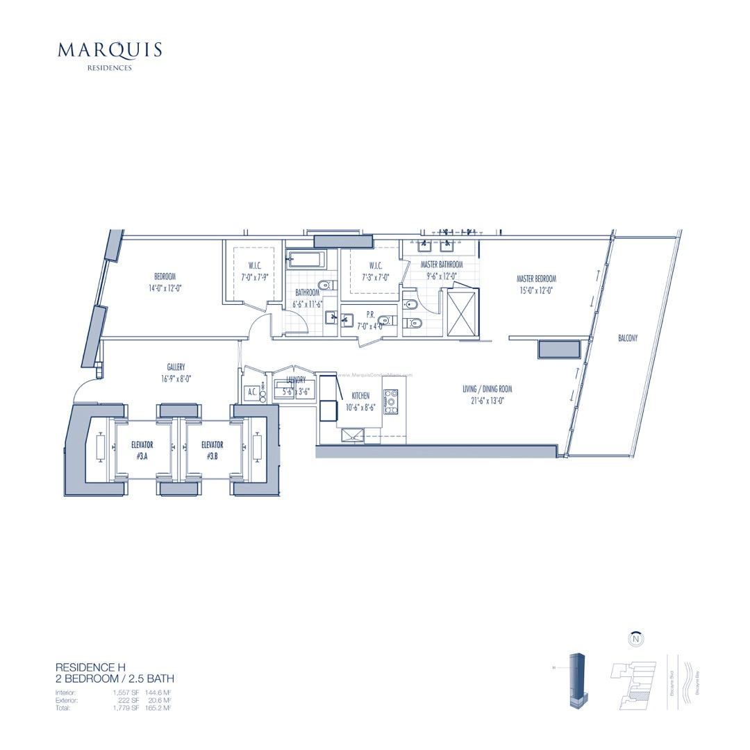 Floor plan image H - 2/2/1  - 1557 sqft image