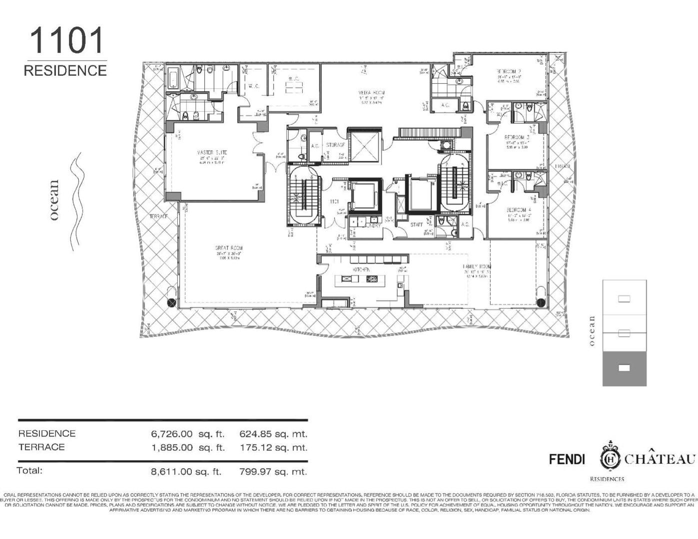 Floor plan image 1101 - 4/4.5/MEDIA ROOM  - 8611 sqft image