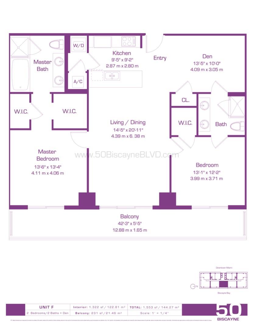 Floor plan image F - 2/2/Den  - 1322 sqft image