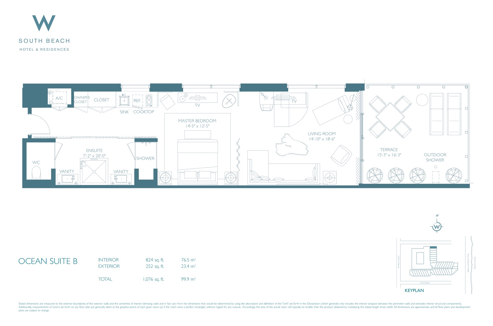 Floor plan image W South Beach B1 - 1/1  - 1830 sqft image