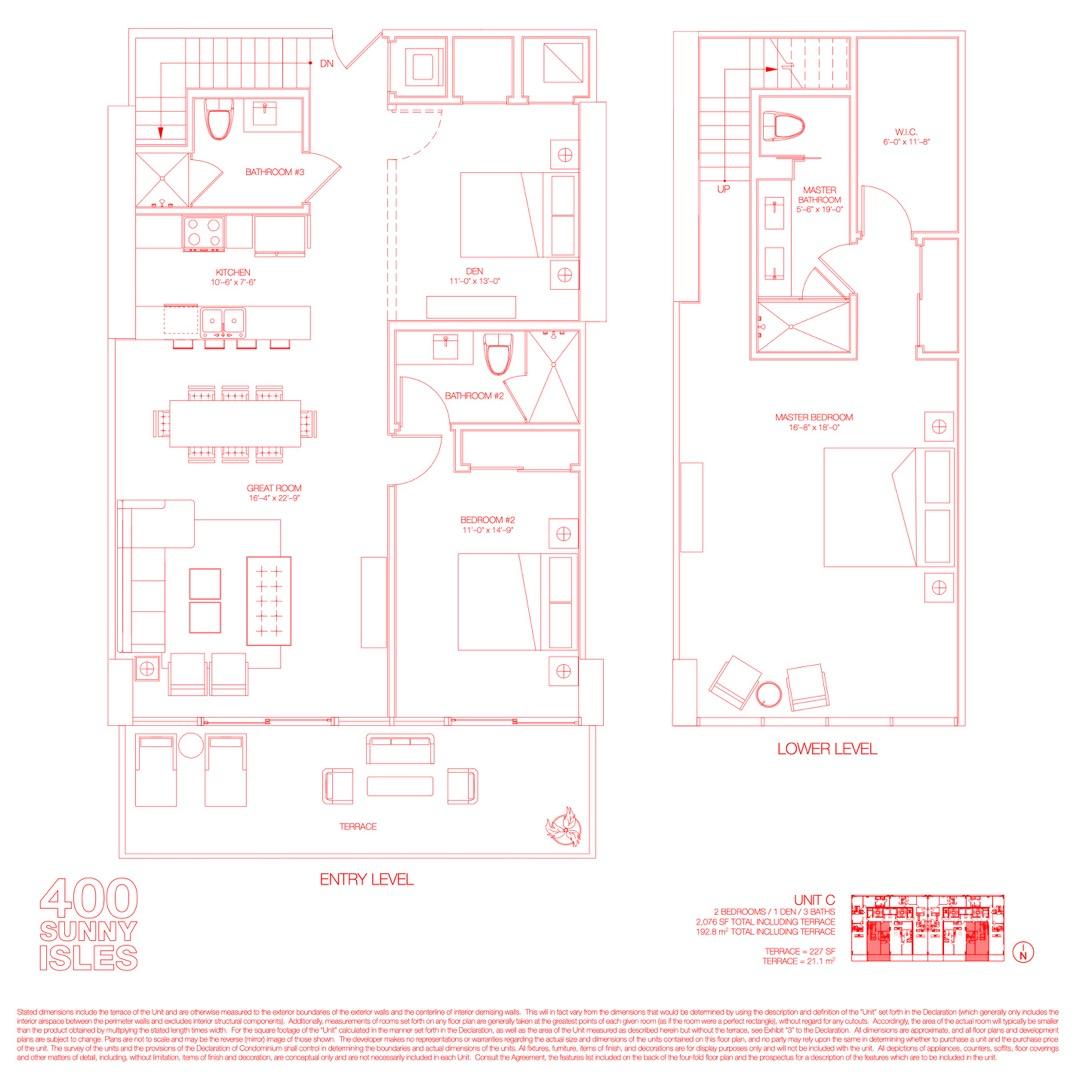 Floor plan image 02 - 2 Beds + Den / 3 Baths  - 2076 sqft image