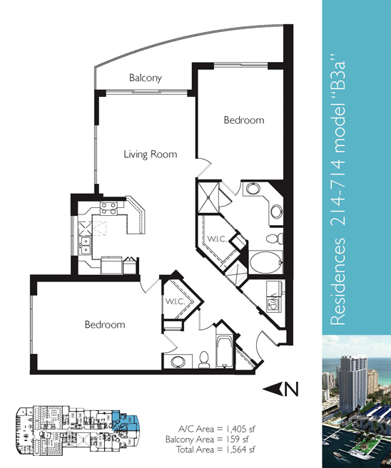 Floor plan image B3a - 2/2  - 1405 sqft image