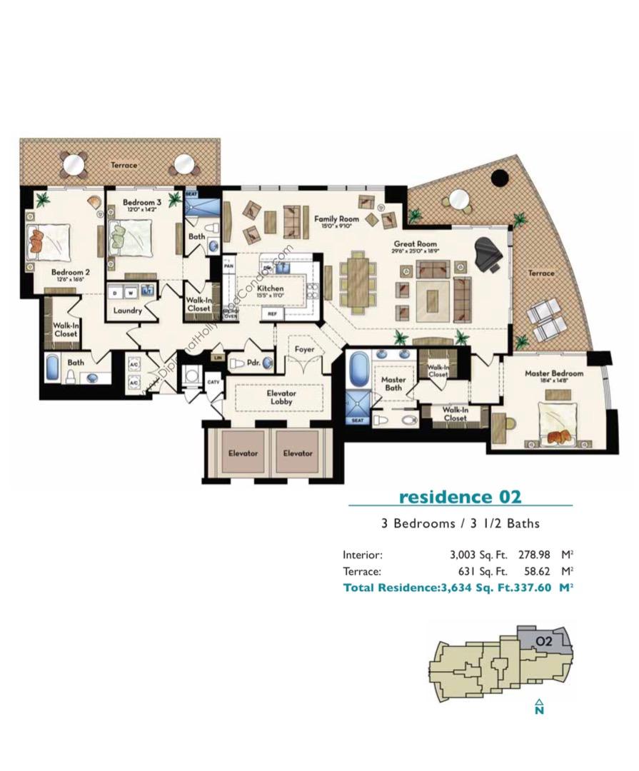 Floor plan image Residence 02 - 3/3/1  - 3003 sqft image