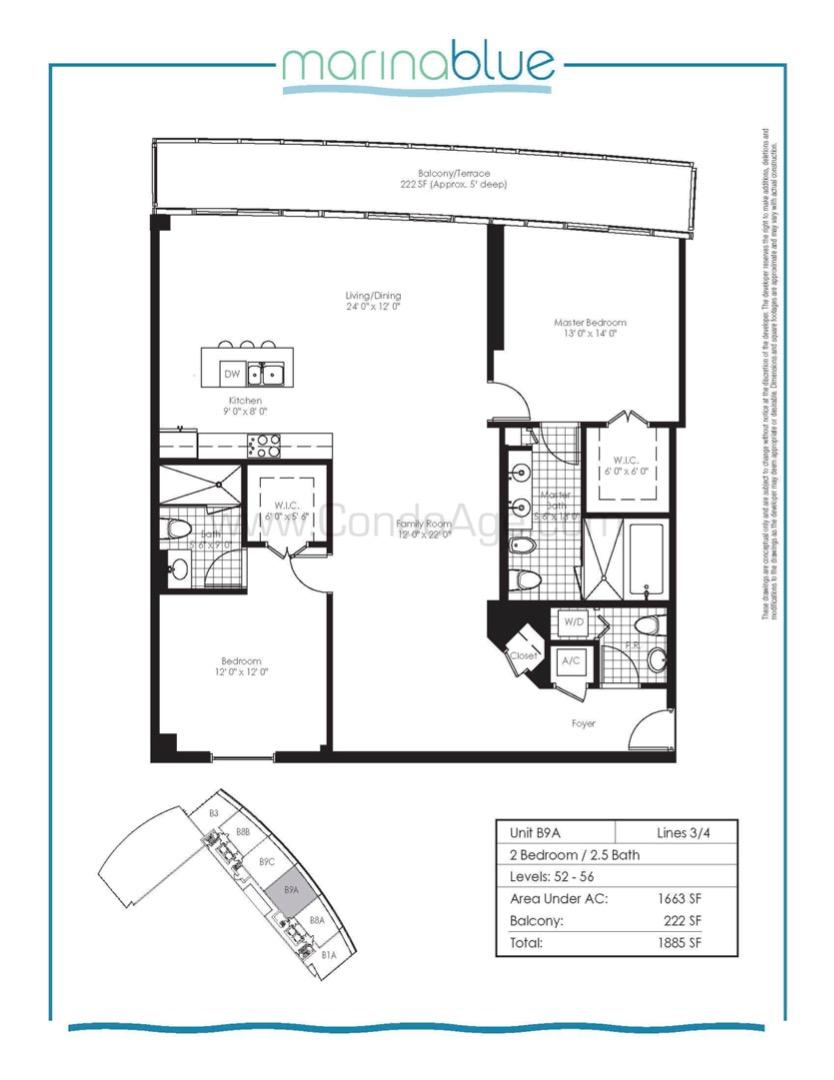 Floor plan image B9A - 2/2/1  - 1663 sqft image