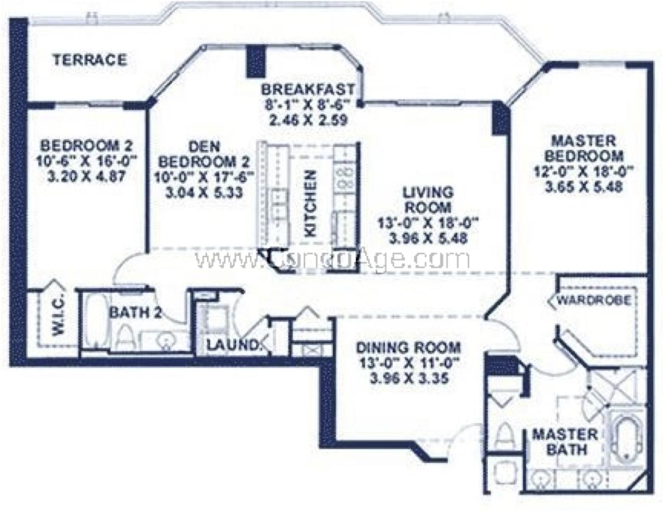 Floor plan image AR - 2/2/Den  - 1696 sqft image