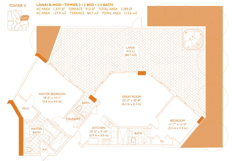 Floor plan image B-mod - 2/2/1  - 1377 sqft image