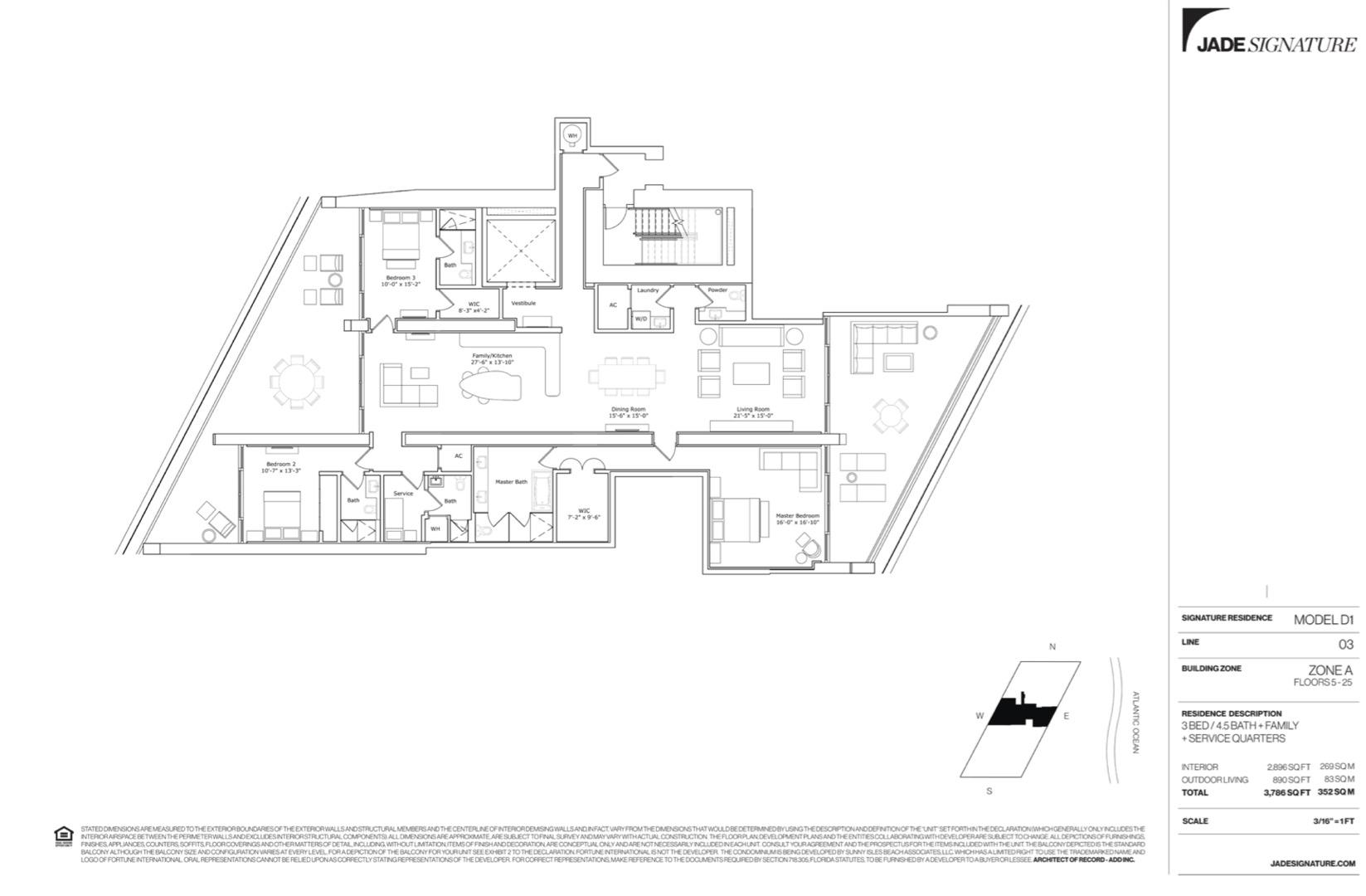 Floor plan image D1 - 3/4.5/FamilyRoom/ServiceQuarters  - 2896 sqft image