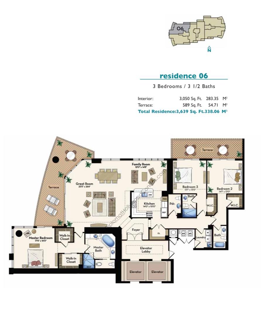Floor plan image Residence 06 - 3/3/1  - 3050 sqft image