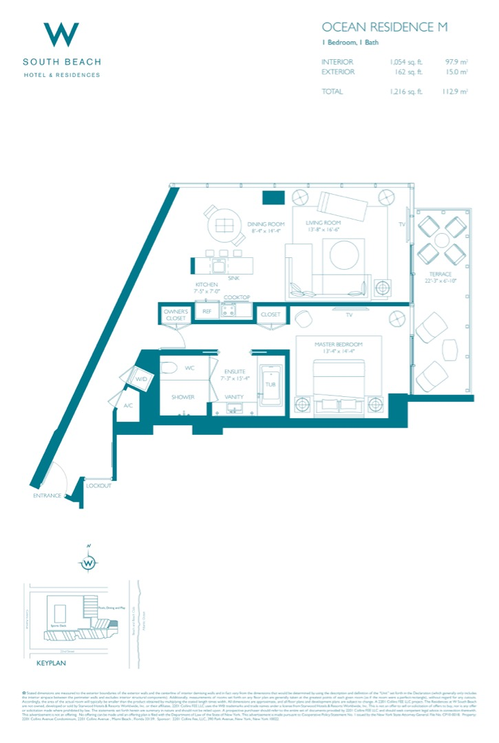 Floor plan image W South Beach M - 1/1  - 1216 sqft image