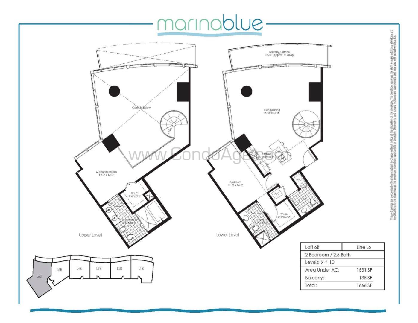 Floor plan image L6B - 2/2/1  - 1531 sqft image