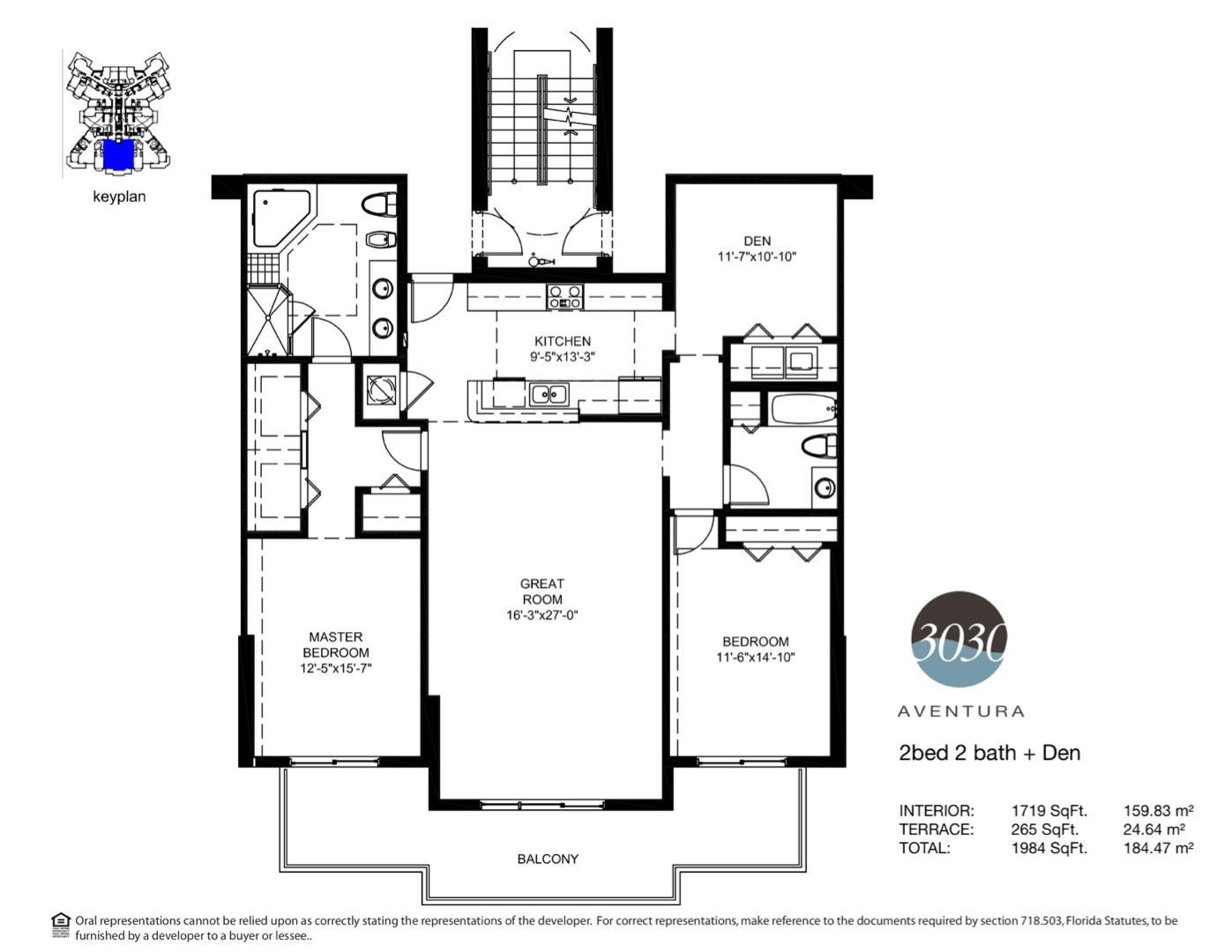 Floor plan image 03 - 2 + Den / 2  - 1984 sqft image