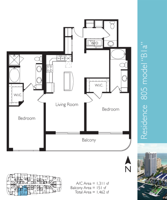 Floor plan image B1a - 2/2/1  - 1311 sqft image