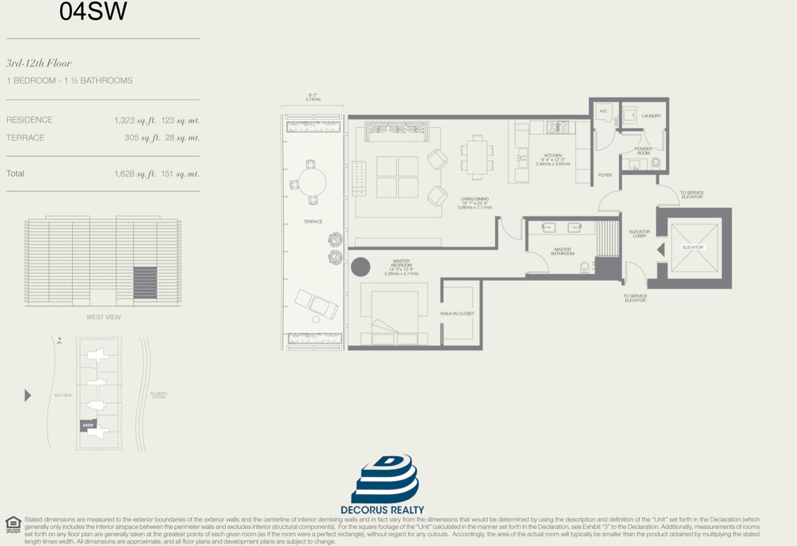 Floor plan image 04SW - 1/1.5  - 1323 sqft image