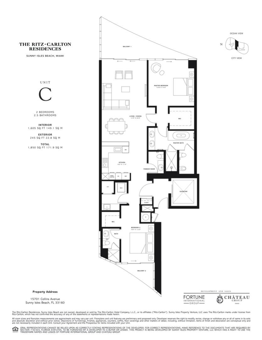 Floor plan image C - 2 BEDROOMS 2.5 BATHROOMS  - 1850 sqft image