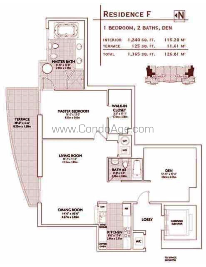 Floor plan image F - 1+Den/2  - 1240 sqft image