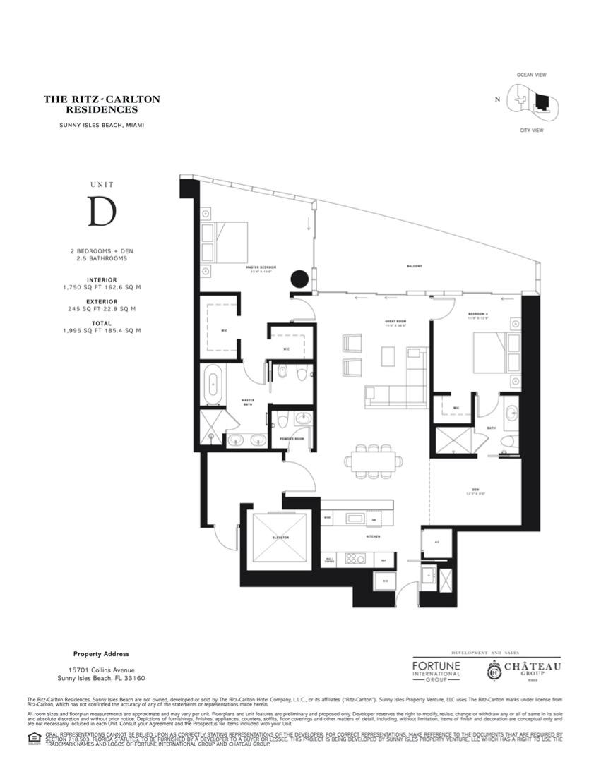 Floor plan image D - 2 BEDROOMS + DEN 2.5 BATHROOMS  - 1995 sqft image
