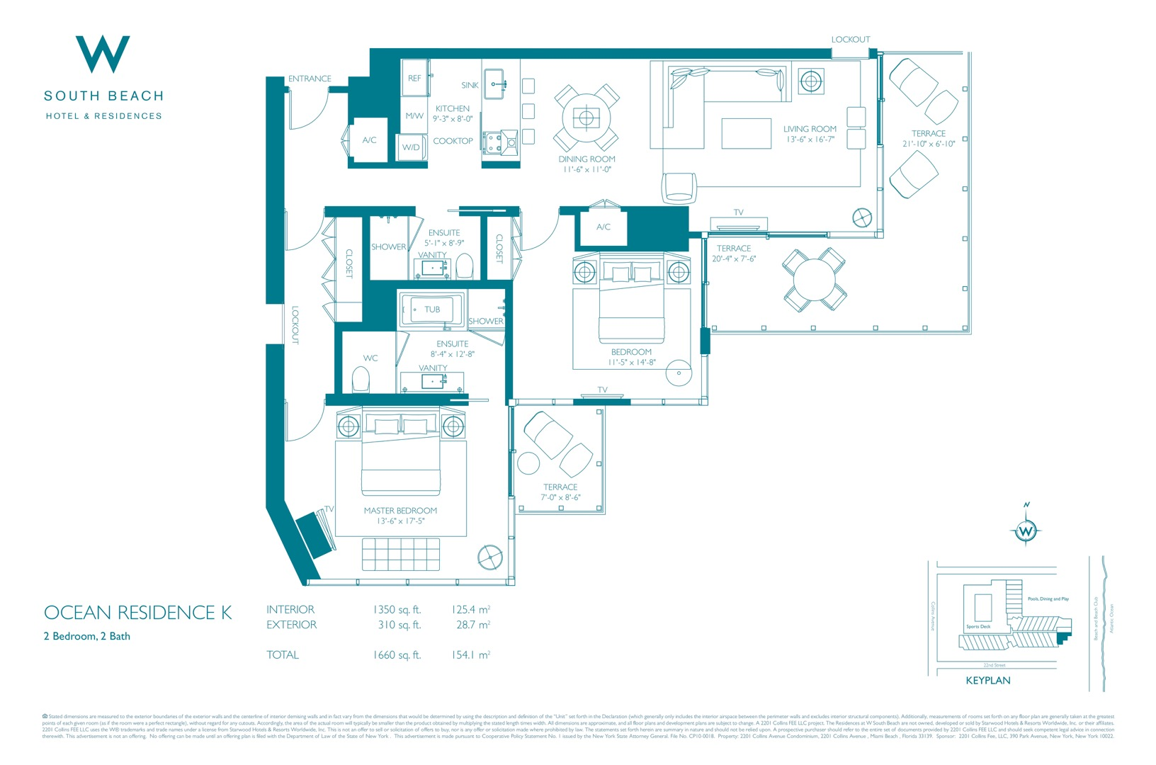 Floor plan image W South Beach K - 2/2  - 1660 sqft image