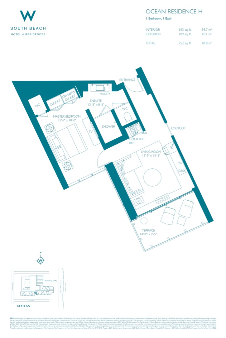 Floor plan image W South Beach H - 1/1  - 752 sqft image