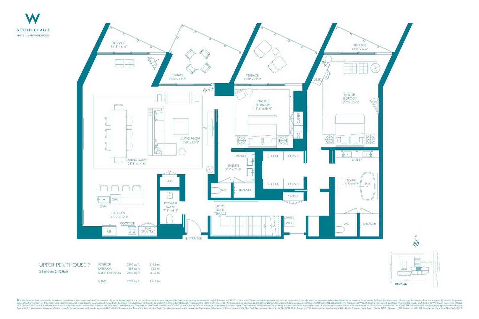 Floor plan image W South Beach Penthouse 7 - 2/2/1  - 5426 sqft image