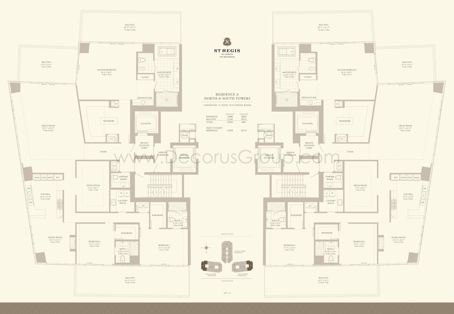 Floor plan image A - 3/3.5 + Media Room  - 5016 sqft image