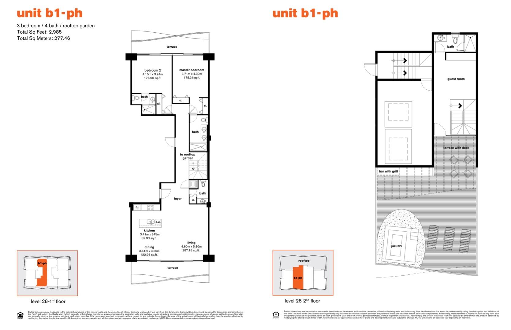 Floor plan image PHB1 - 3/4/Garden  - 2985 sqft image