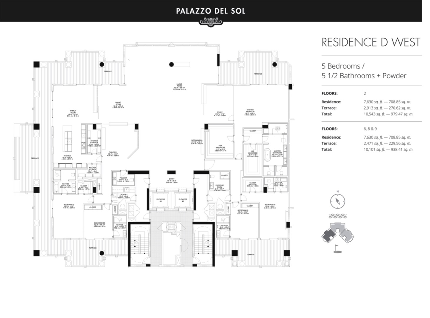 Floor plan image D West 6 - 5/5.5  - 7630 sqft image