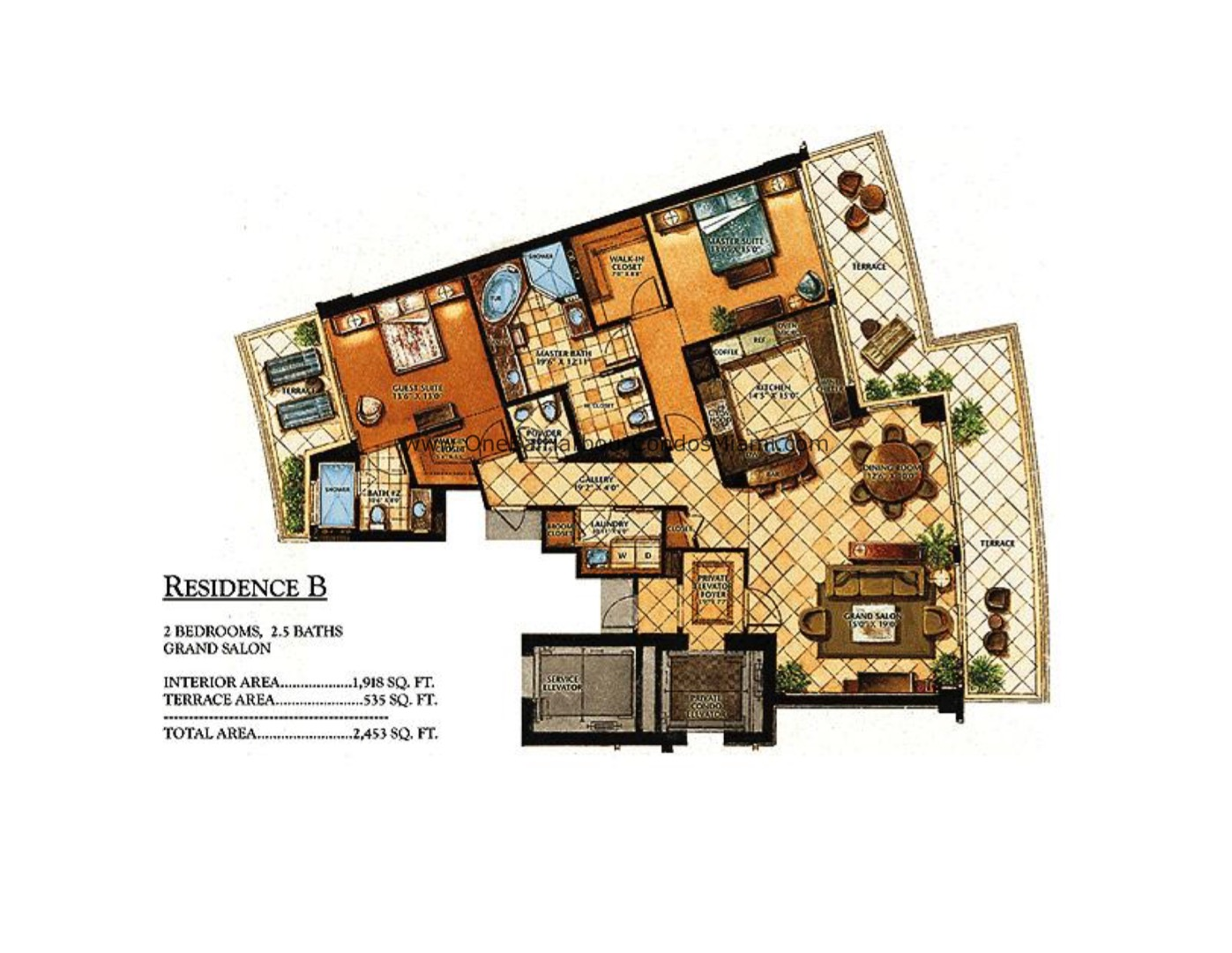 Floor plan image B - 2/2/1  - 1918 sqft image