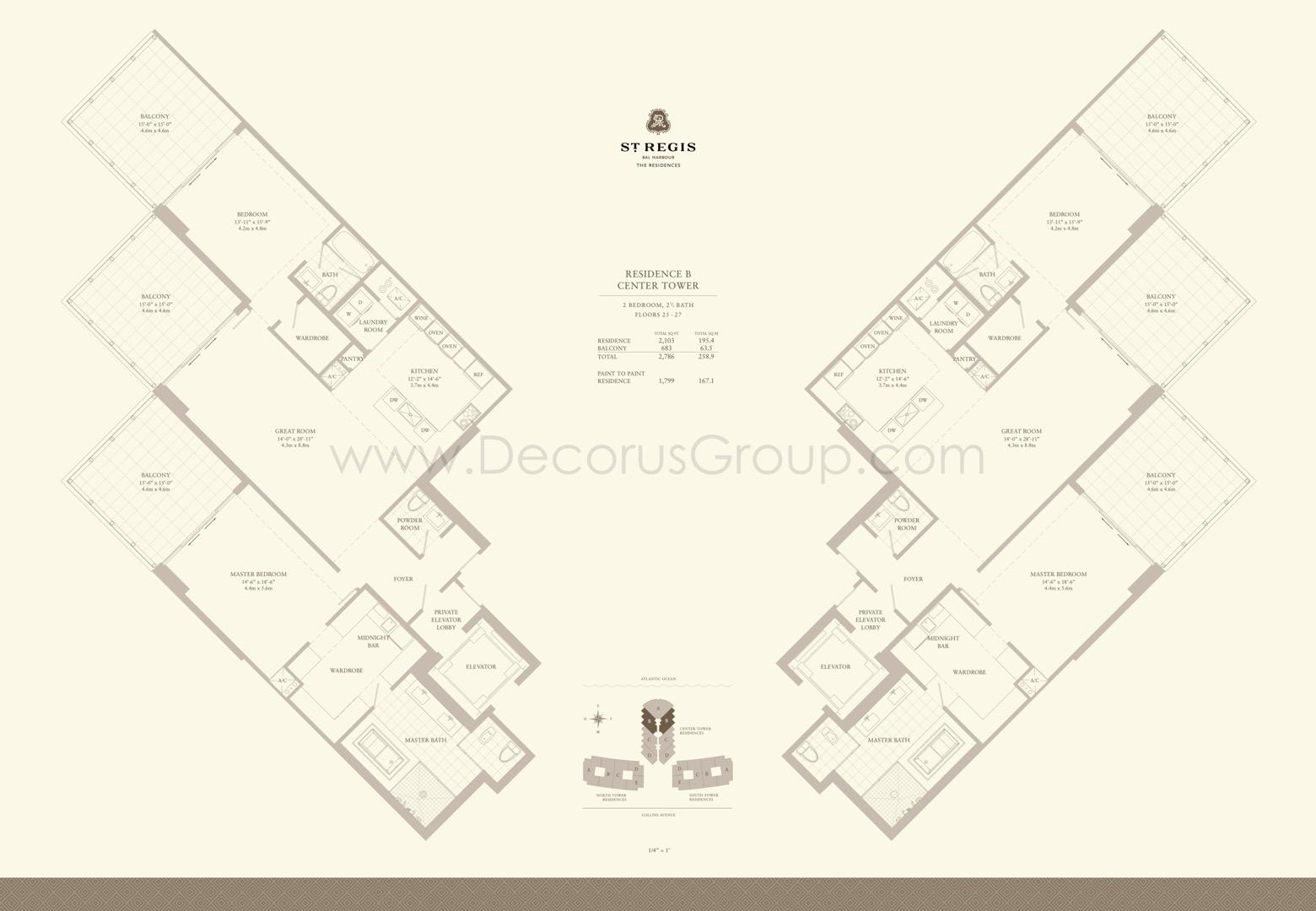 Floor plan image B - 2/2.5  - 2786 sqft image