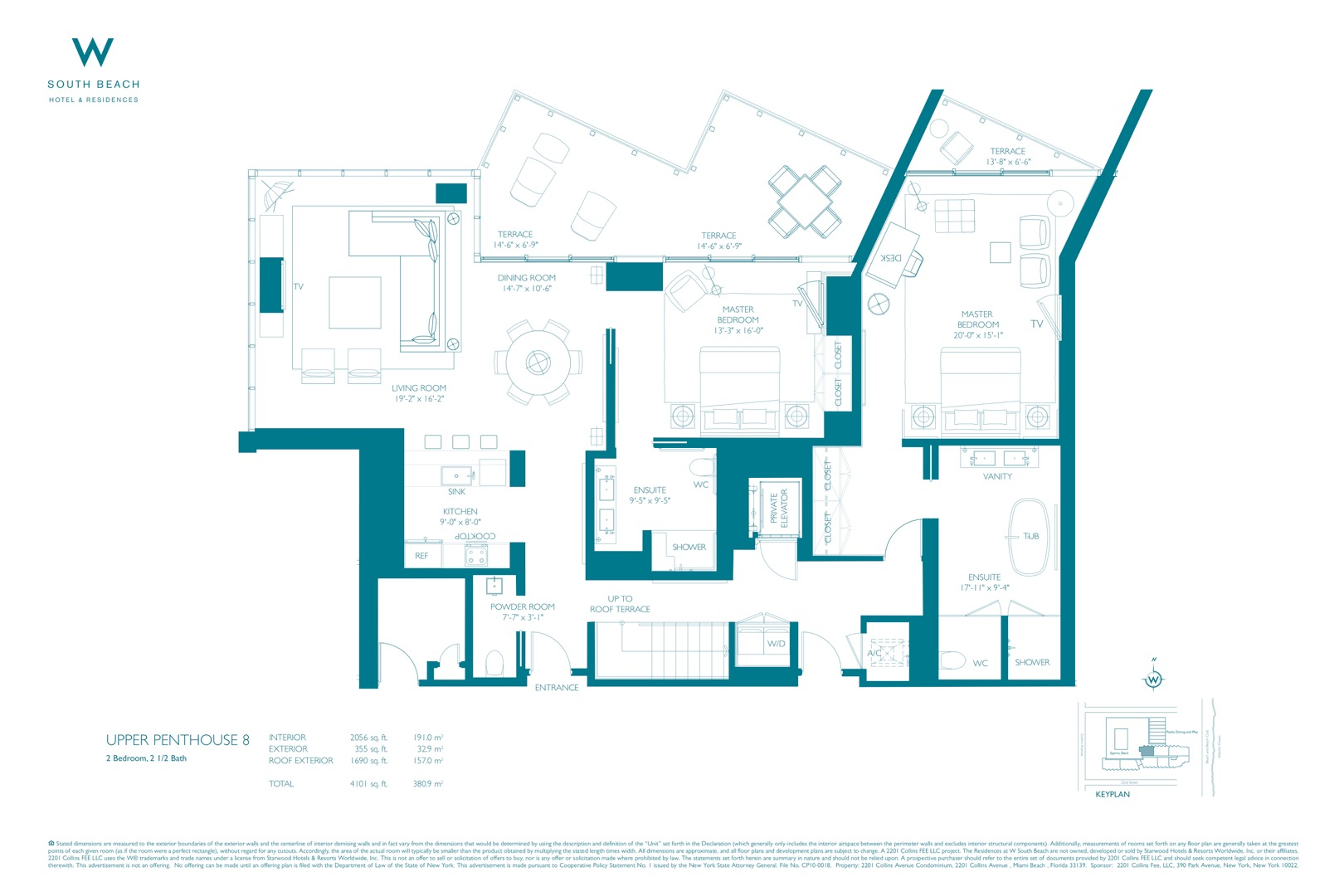 Floor plan image W South Beach Penthouse 8 - 2/2/1  - 5467 sqft image
