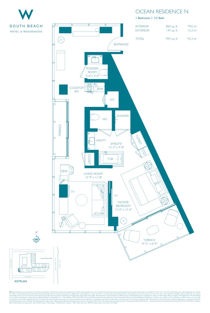 Floor plan image W South Beach N - 1/1/1  - 994 sqft image