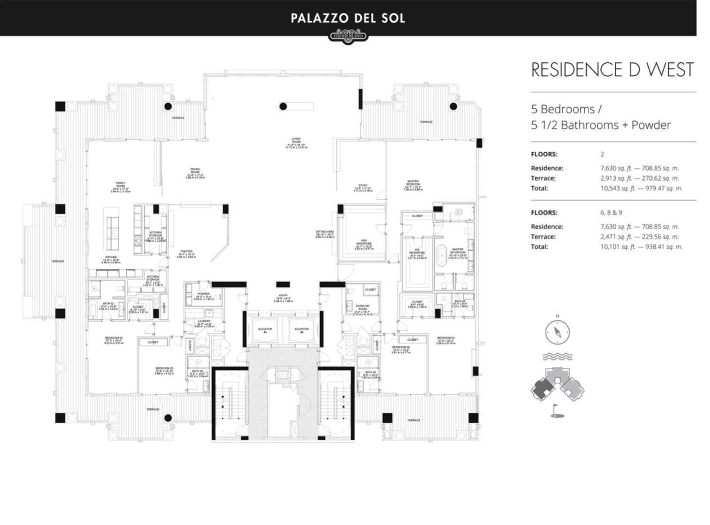 Floor plan image D West 9 - 5/5.5  - 7630 sqft image