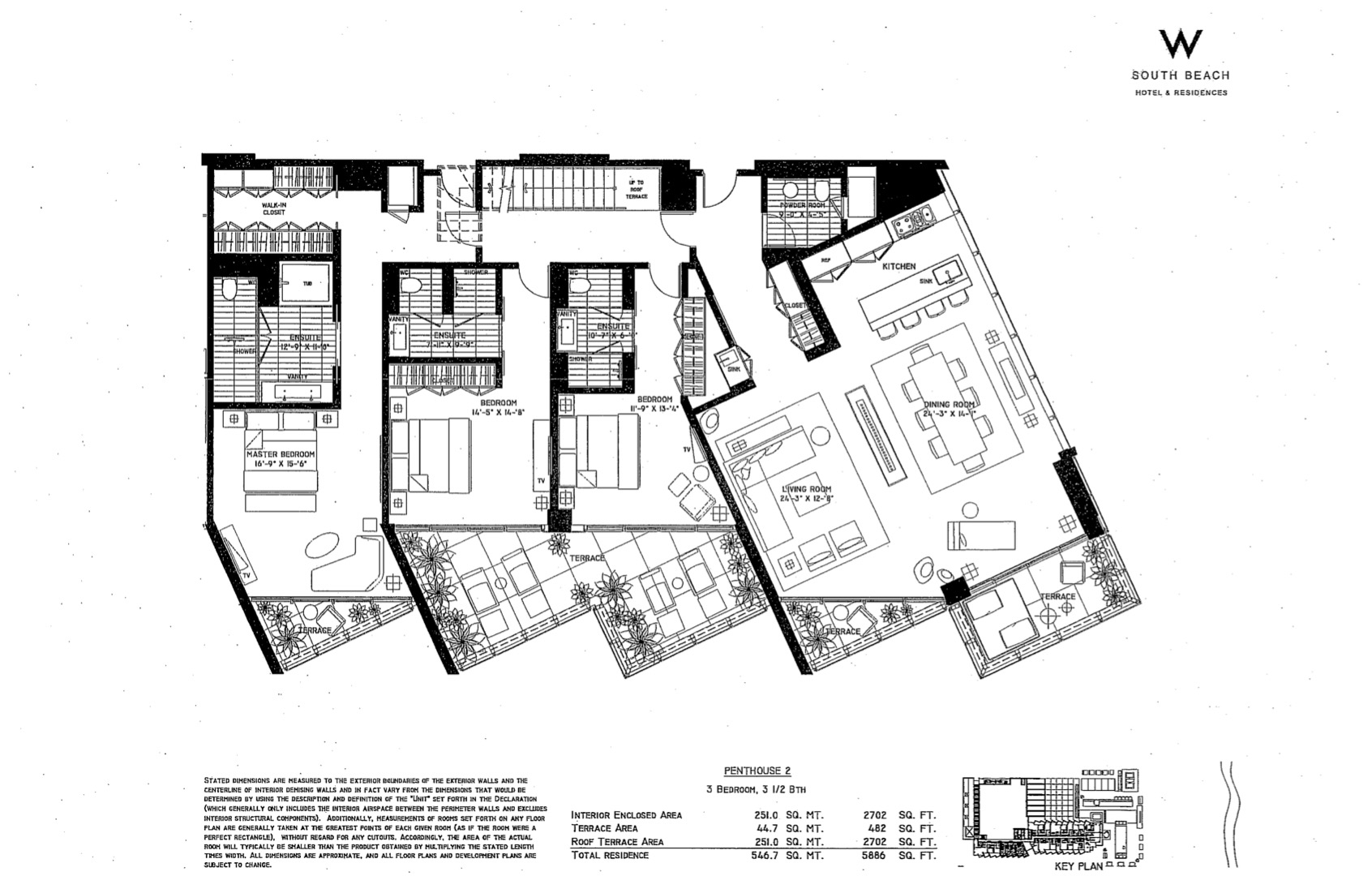 Floor plan image W South Beach Penthouse 2 - 3/3/1  - 5886 sqft image