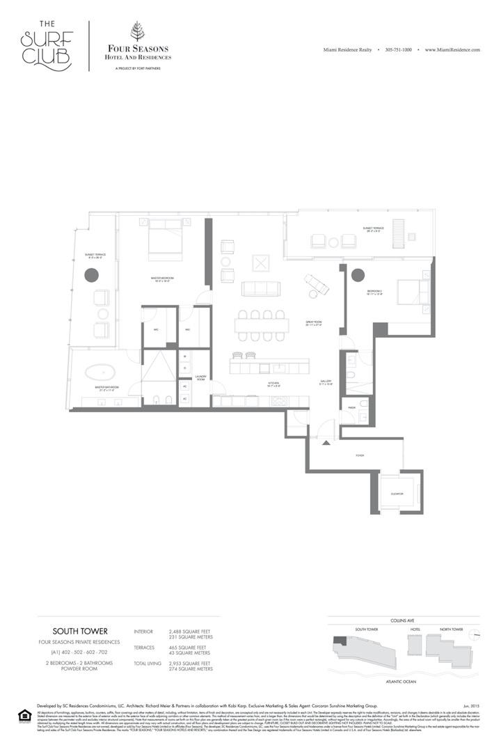 Floor plan image A1 - 2/2/POWDER ROOM  - 2953 sqft image