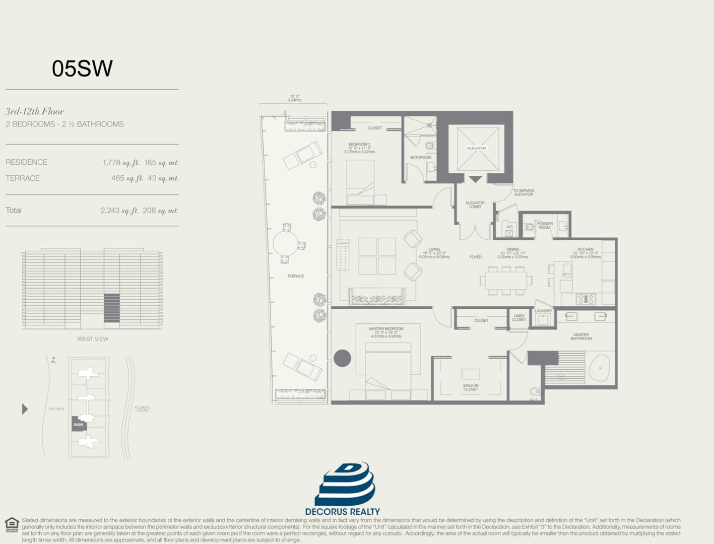Floor plan image 05SW - 2/2.5  - 1778 sqft image