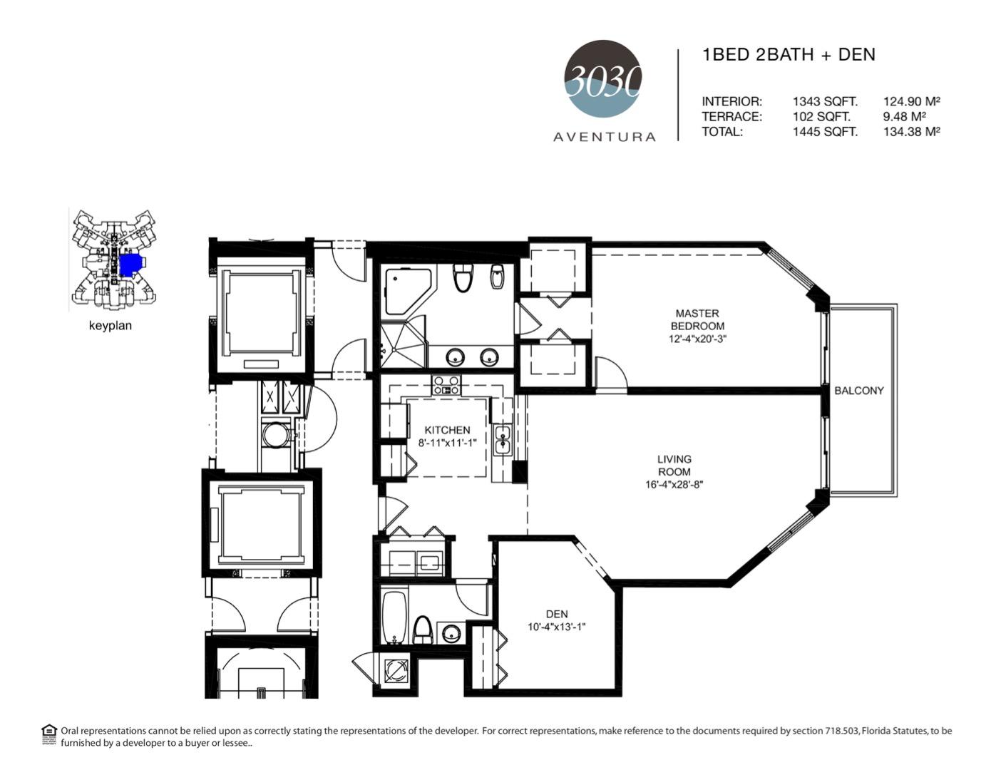 Floor plan image 01 - 1 + Den / 2  - 1445 sqft image