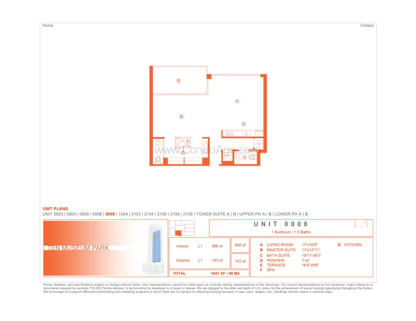 Floor plan image 08 - 1/1/1  - 898 sqft image