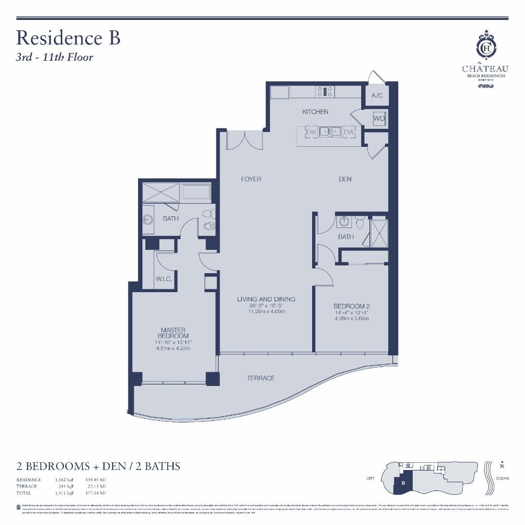 Floor plan image 03-B   303 - 2/2 + Den  - 1557 sqft image