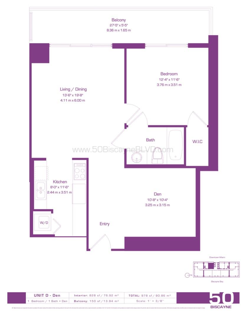 Floor plan image D Den - 1/1/Den  - 800 sqft image