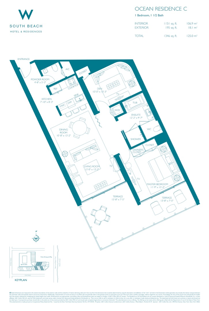 Floor plan image W South Beach C - 1+Den/1/1  - 1346 sqft image
