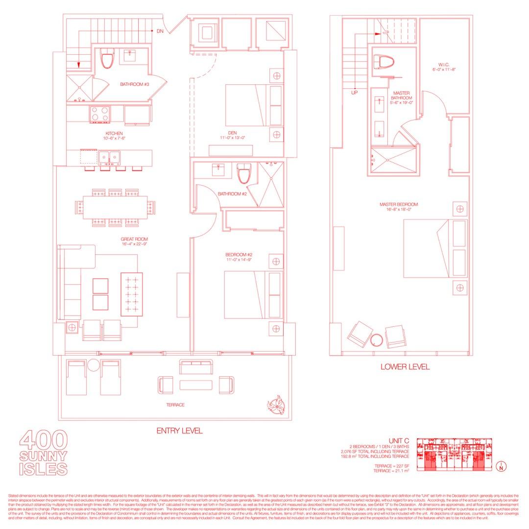 Floor plan image 16 - 2 Beds + Den / 3 Baths  - 2076 sqft image