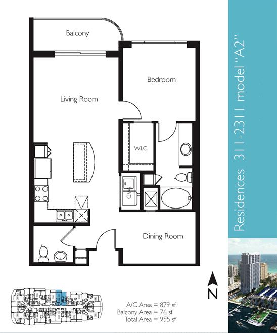 Floor plan image A2 - 1/1/1  - 879 sqft image