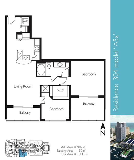 Floor plan image A5a - 2/1  - 989 sqft image