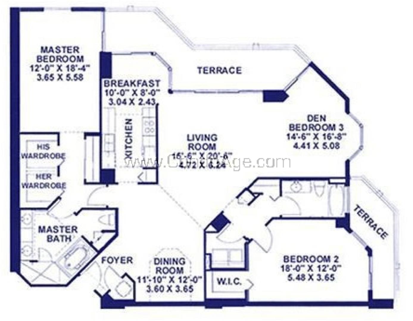 Floor plan image B - 2/2/Den  - 1865 sqft image