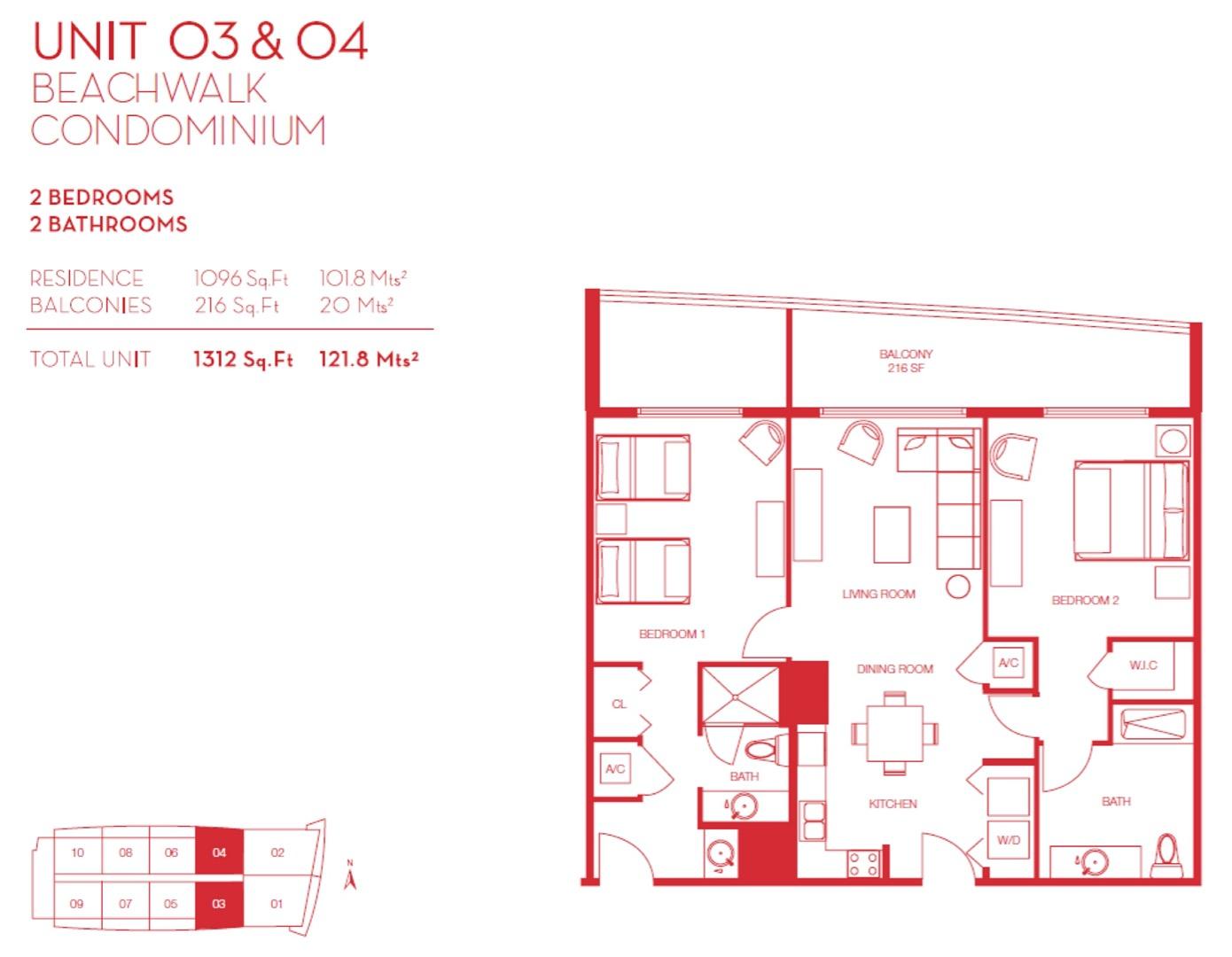 Floor plan image 03 & 04 - 2/2  - 1096 sqft image