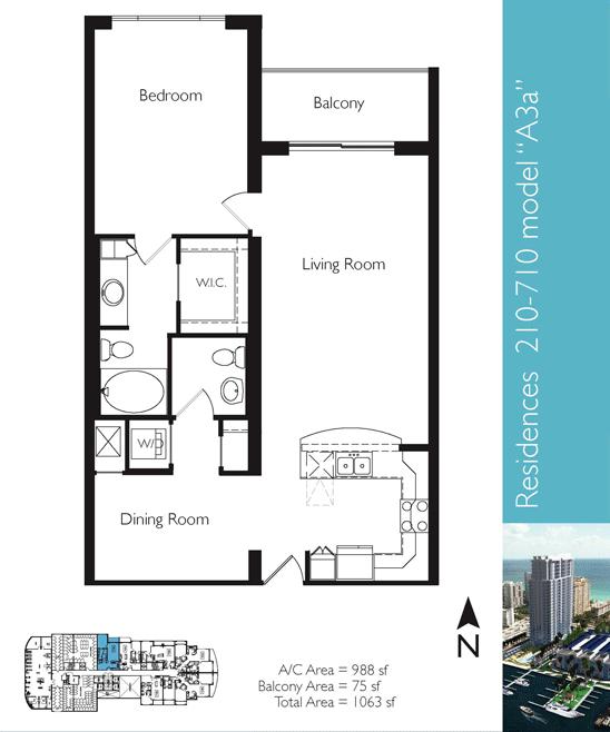 Floor plan image A3a - 1/1  - 988 sqft image