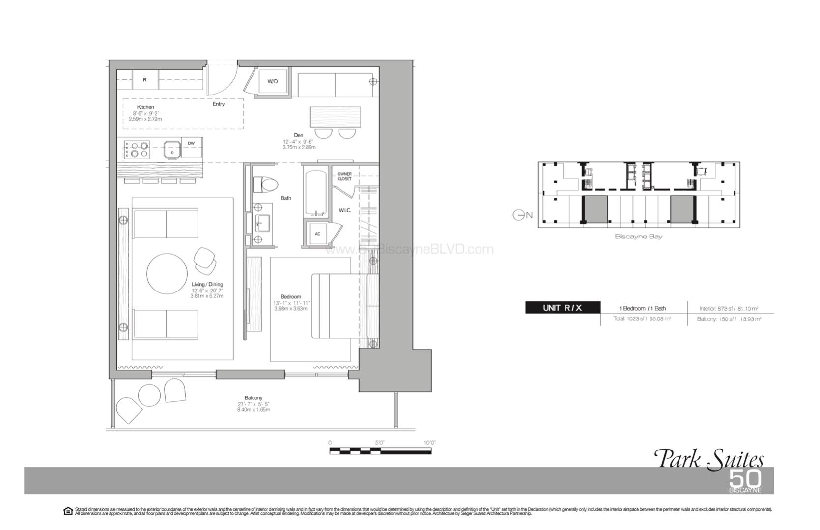 Floor plan image Park Suites R/X - 1/1/Den  - 873 sqft image