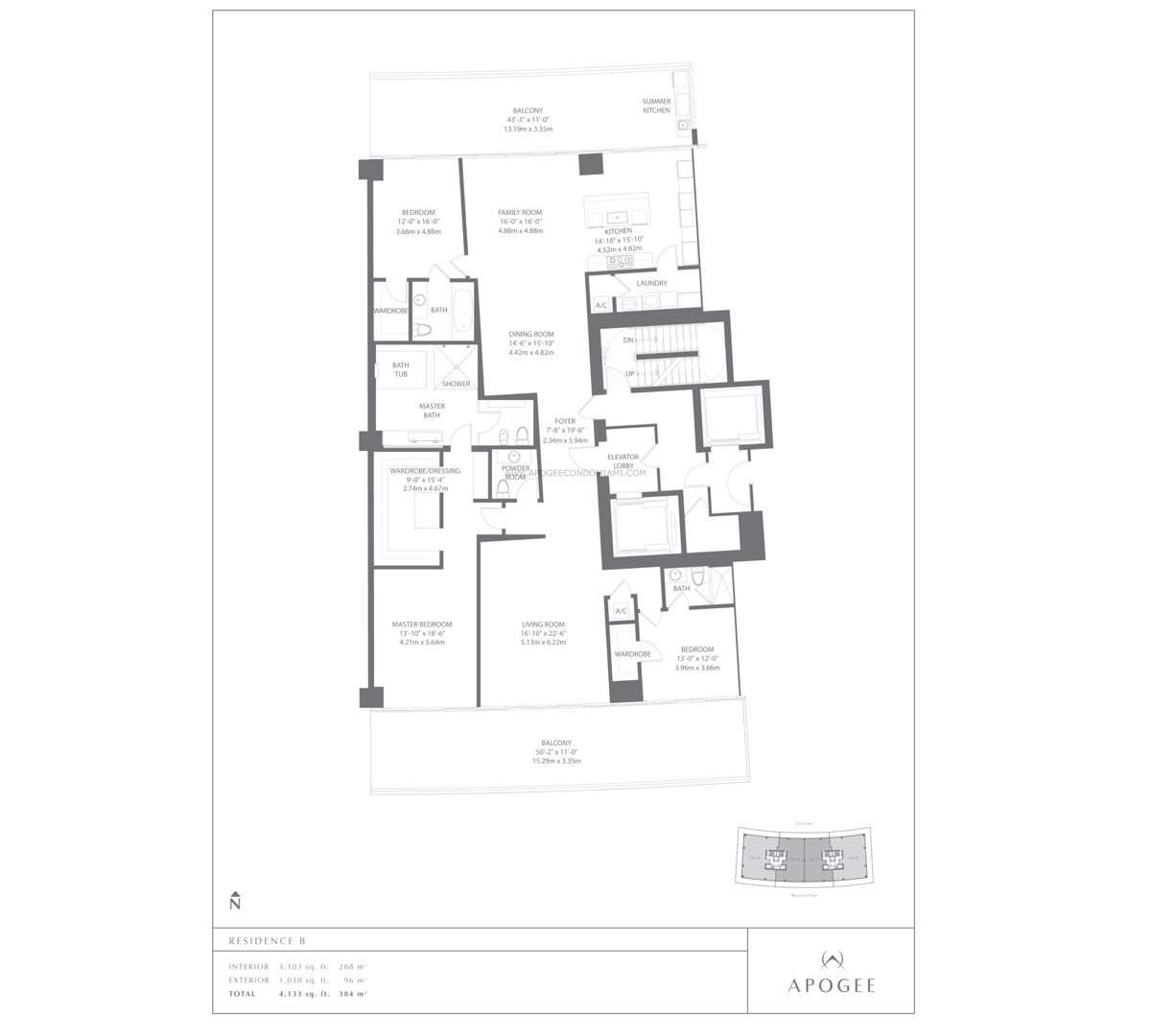 Floor plan image Residence B - 3/3/1  - 3103 sqft image