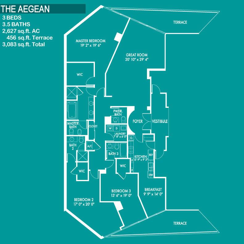 Floor plan image The Aegean - 3/3/1  - 3083 sqft image