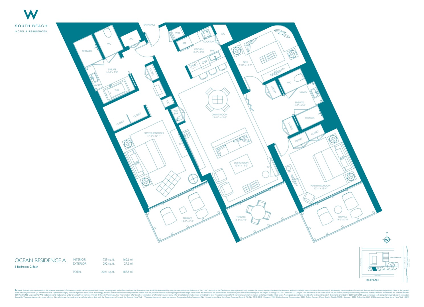 Floor plan image W South Beach A - 2+Den/2  - 2021 sqft image