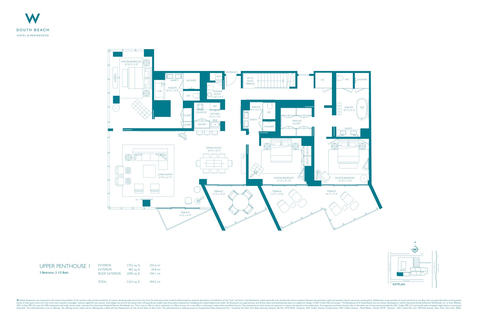 Floor plan image W South Beach Penthouse 1 - 3/3/1  - 6021 sqft image
